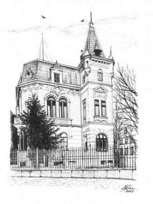 Societatea de Difuziune Radiotelefonică din România (numele de până în 15 august 1936 al Radioului românesc) – clădirea veche Radio din str. G-ral Berthelot. Desen de Bogdan Calciu