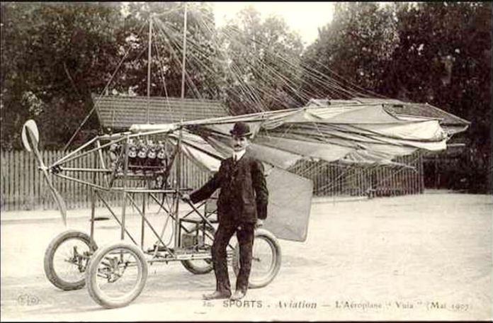 Carte poștală cu Traian Vuia și avionul său