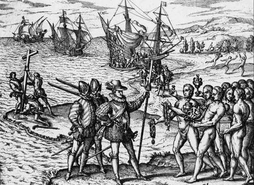 Gravură de epocă – Expediția lui Cristofor Columb