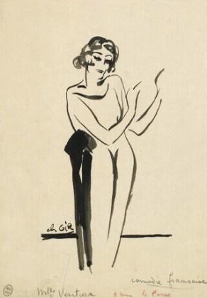 Maria Ventura, desen de Charles Gir, © Biblioteca Națională a Franței