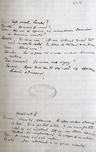 """""""Păcală"""", filă de manuscris – Biblioteca Academiei Române, Ms. rom. 1657, f. 307. Sursxa; Ștefan Petică, """"Opere III. Teatru"""", 2018"""