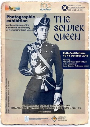 """Afișul expoziției de fotografie """"Regina Soldat"""", BOZAR – Palatul Artelor Frumoase din Bruxelles, octombrie 2018"""