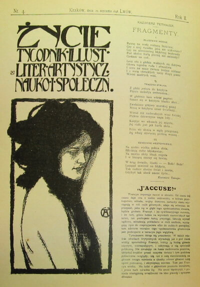 """Pagină din ziarul polonez """"Życie"""" (Cracovia), relatând despre scrisoarea lui Zola și afacerea Dreyfus. Sursa: Wikipedia"""