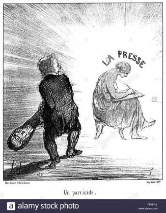 """""""Un paricid"""", litografie, """"Le Charivari"""", 16 aprilie 1850"""