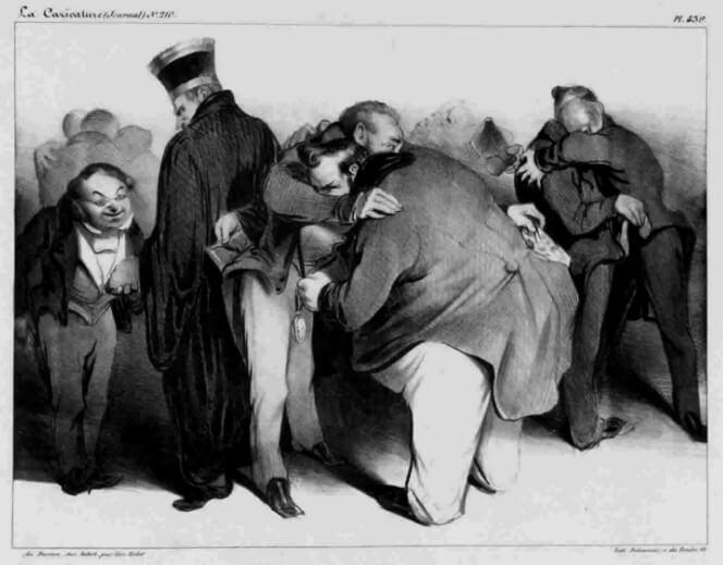 Nous sommes tous d'honnètes gens, embrassons-nous, et que ça finisse. Caricatură la adresa aranjamentelor dintre politicieni, 1834. (Idee asemănătoare expresiei caragieleşti Pupat piaţa Independenţii!