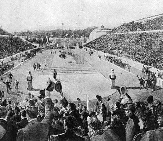 Sosirea în proba de maraton pe Stadionul Panathinaikos din Atena, 1896