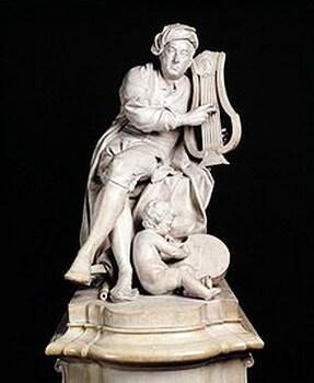 Händel, statuie din marmură de Louis-François Roubiliac, pentru Vauxhall Gardens din Londra, 1738; conservată în Victoria & Albert Museum din Londra