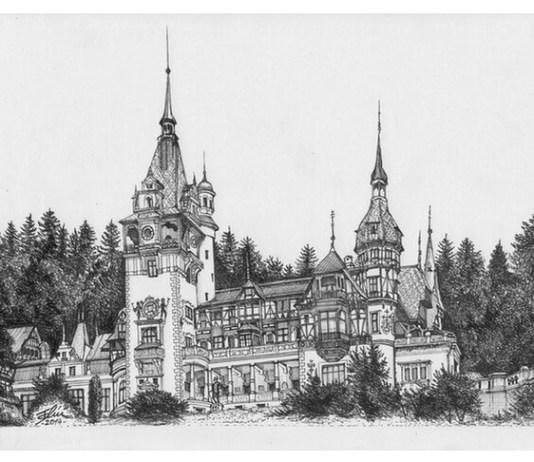 Castelul Peleș, Sinaia, desen de Bogdan Calciu