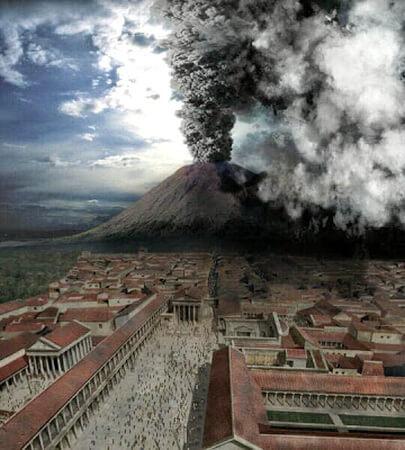 """Erupţia Vezuviului, o simulare prezentată în documentarul BBC, """"Pompei: The Last Day"""" (""""Pompei: ultima zi"""")"""