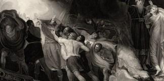 """Ilustrație la actul I din """"Furtuna"""", gravură de Benjamin Smith după tabloul lui George Romney, 1797"""