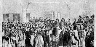 Solemnitatea deschiderii Adunării ad-hoc din Ţara Românească (Bucureşti, 8 octombrie 1857), litografie de Carol Popp de Szathmáry