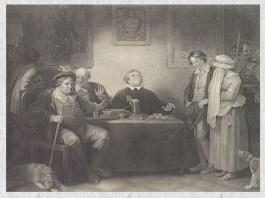 """Peter Simon, """"Cele șapte vârste ale omului – Vârsta a cincea, Justiția"""", gravură (ilustrație la """"Cum vă place"""" de William Shakespeare, actul II, scena 7), 1801"""