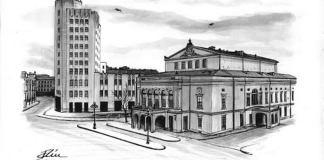 Bogdan Calciu, Vechiul Teatru Național și Palatul Telefoanelor din București, desen, 2012