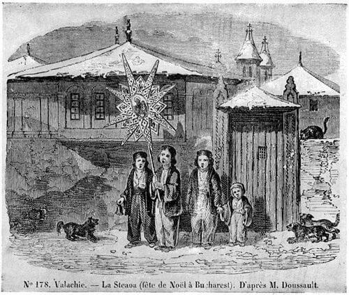 Copii cu Steaua la București, 1842. Gravură după M. Doussault