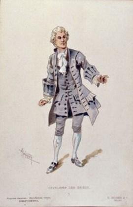 """Costumul Cavalerului des Grieux pentru actul al II-lea, desenat de Adolfo Hohenstein pentru premiera mondială a operei """"Manon Lescaut"""" de Puccini, Teatrul Regio din Torino, 1 februarie 1893"""