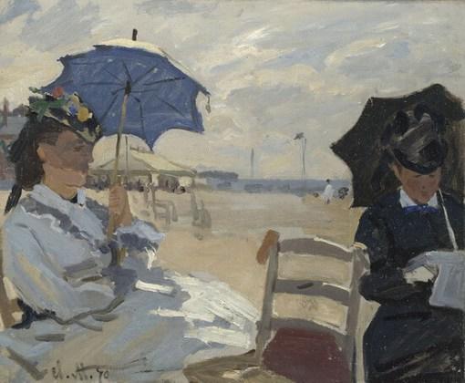 """Claude Monet, """"Plaja din Trouville"""", 1870"""