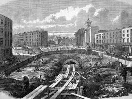 Construirea Metropolitan Railway, stația King's Cross, în 1861. Ilustrație de P. Justyne