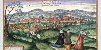 Gravură a Clujului realizată de flamandul Joris Hoefnagel în 1617