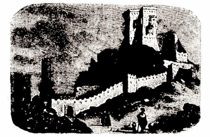 """Cetatea Deva în perioada medievală. Imagine din """"Nordisk familjebok"""""""