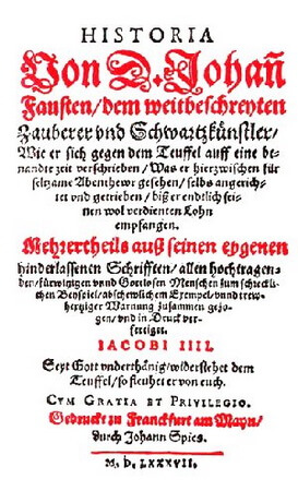 Pagina de titlu a Istoriei dr. Johann Faust (Faustbuch), publicată de Johann Spiess în 1587