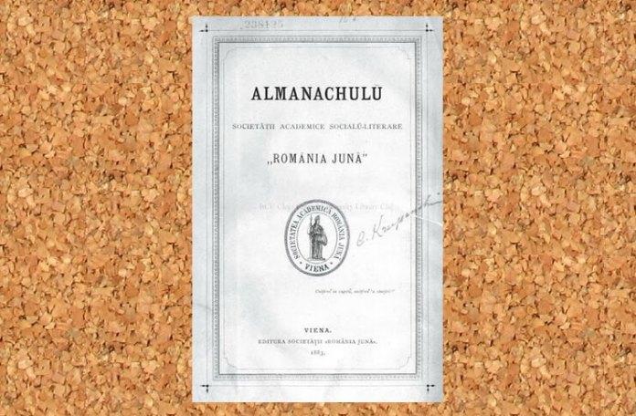 """În acest Almanah a apărut poemul """"Luceafărul"""" de Mihai Eminescu, aprilie 1883. Sursa foto: BCU Cluj"""