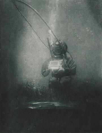 Emil Racoviță, scafandru la Observatorul Oceanologic de la Banyuls-sur-Mer, 1899 . Fotografie de Louis Marie-Auguste Boutan