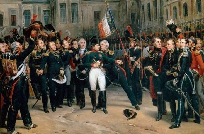 Cuvintele de adio ale lui Napoleon către Garda Imperială, în curtea castelului de la Fontainebleau