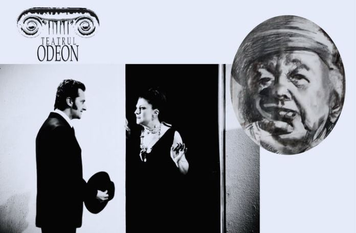 """Oana Ștefănescu și Ionel Mihăilescu în """"Ionesco – 5 piese scurte"""", Teatrul Odeon. În medalion: portret Eugène Ionesco de Adina Romanescu, 2010"""