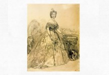 Doamna Elena Cuza, desen de Carol Popp de Szathmary, 1864. Muzeul Naţional de Artă al României din Bucureşti
