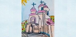"""Catedrala """"Naşterea Domnului"""" din Brăila. Desen de Giada Turea"""