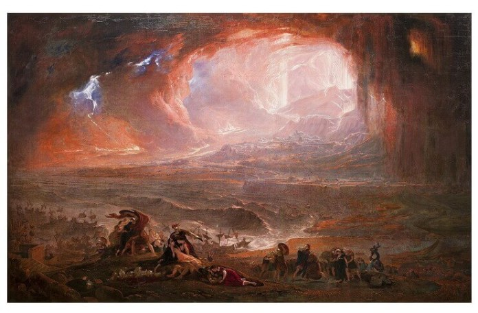 Distrugerea orașelor Pompei și Herculanum de John Martin (c. 1821)