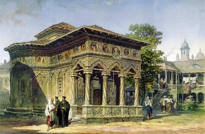 Biserica Stavropoleos în 1868, acuarelă de Amedeo Preziosi