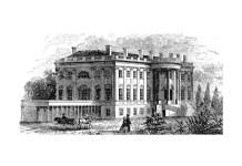 Corpul de vest, Jefferson, al Casei Albe într-o imagine din secolul al XIX-lea. Inițial a fost folosit ca spălătorie. După aceea a fost transformat în piscină de către președintele Roosevelt. Președintele Nixon l-a transformat în Sala Presei.