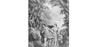 Ilustrație pentru ediția din 1764 a operei ((Paris, Duchesne). Gravură de Nöel Lemire după Charies Monnet