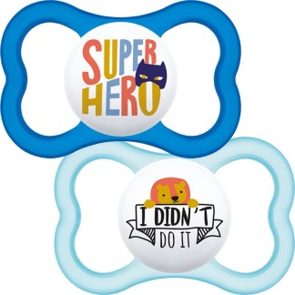 Mam Air Soother Twin Pack 12m+ (Super Hero / I Didn't Do It)
