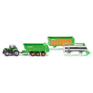 1:87 Deutz-Fahr Tractor with 3 Piece Joskin Trailer Set - Siku 1848