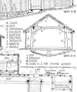 Eldre teknisk tegning av grindbygg