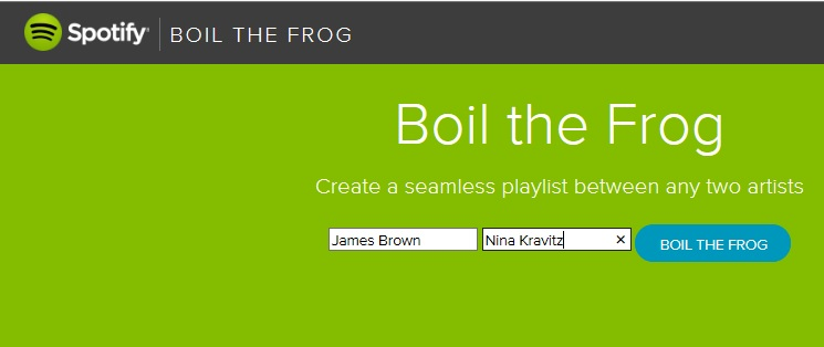 Boil The Frog - Spotify Artist to Artist Playlist Creation