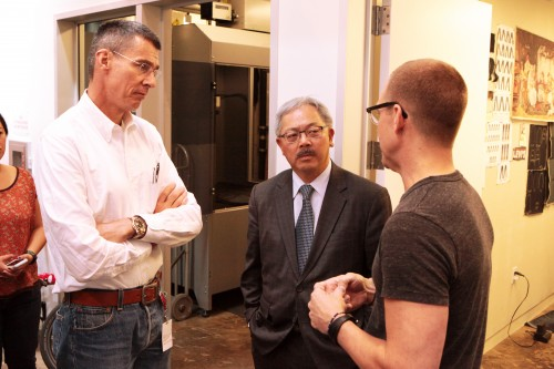 San Francisco Mayor Ed Lee (center) meet with LS&Co. CEO, Chip Bergh (left) and LS&Co. Director of Global Development, Bart Sights (right) at Eureka Innovation Lab