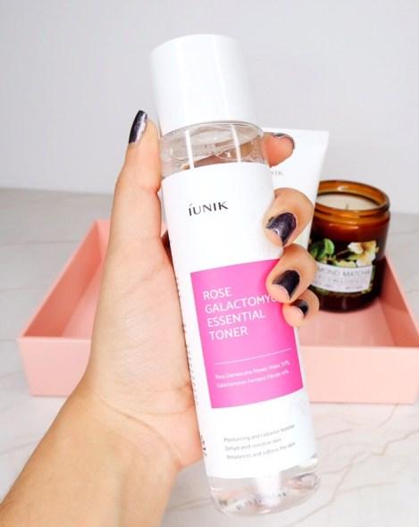 iUNIK Rose Galactomyces toner. Kbeauty Fermented Skincare Products.
