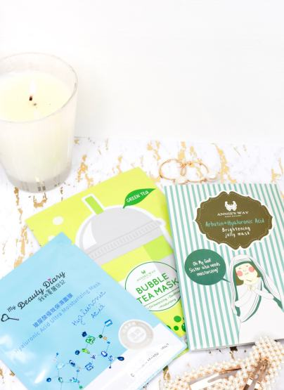 Asian skincare: sheet masks from My Beauty Diary and Annie's Way. Skincare flatlay