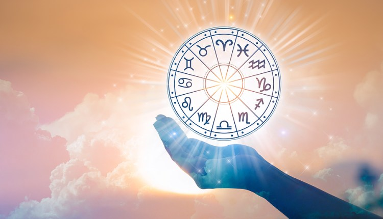 Zodiac Signs Inside Of Horoscope Circle. Astrology In The Sky Wi