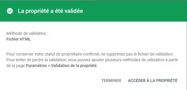 Validation de la propriété dans Google Search Console