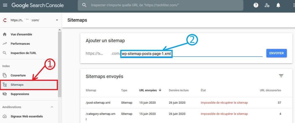 Envoyer un sitemap via Google Search Console