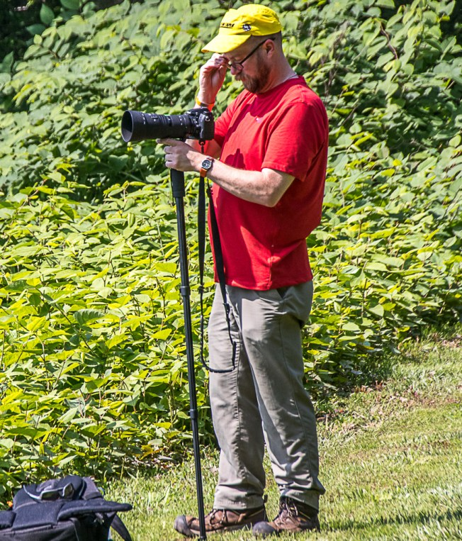 Photo hike-Charlie Guttendorf at Milton State Park photographing Milton Bicentennial train, June 10, 2017
