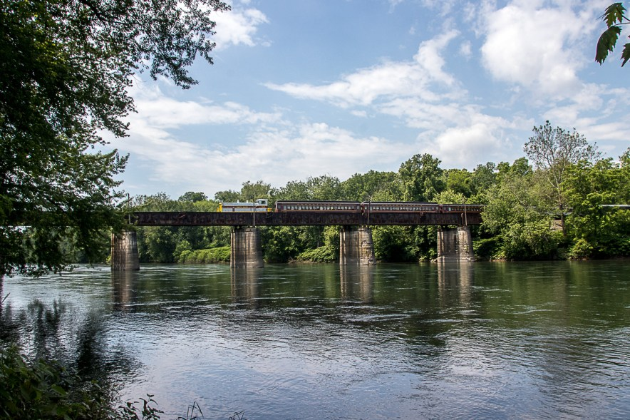 Photo hike-Milton's Bicentennial train on Railroad Trestle over Susquehanna River at Milton State Park, June 10, 2017