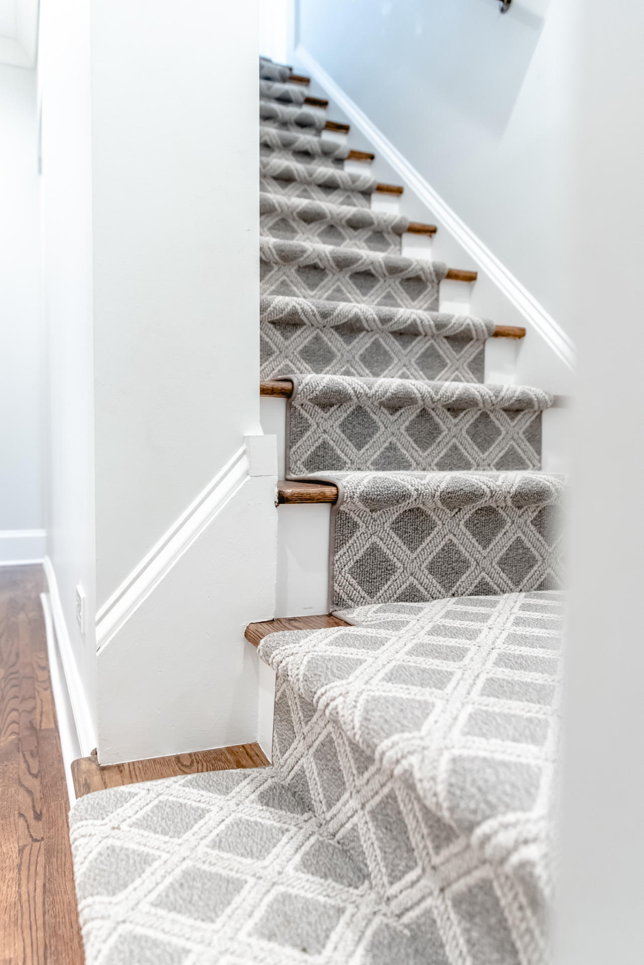 Stair Carpet Gain Inspiration And View Stair Carpet Projects | Carpet Rugs For Stairs | Navy Blue | Beige | Tartan | Wool | Diamond Pattern