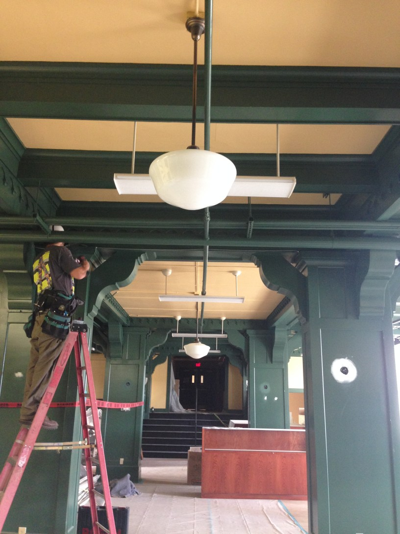 Pendant lights in museum lobby