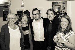 pictured (left) with artist Margaret Knott, and Gem Young, Elliot Jenkins and Emily Atterton