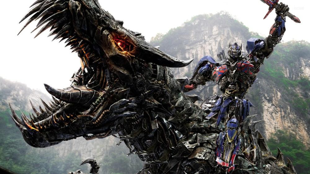 Optimus rides a Dinobot